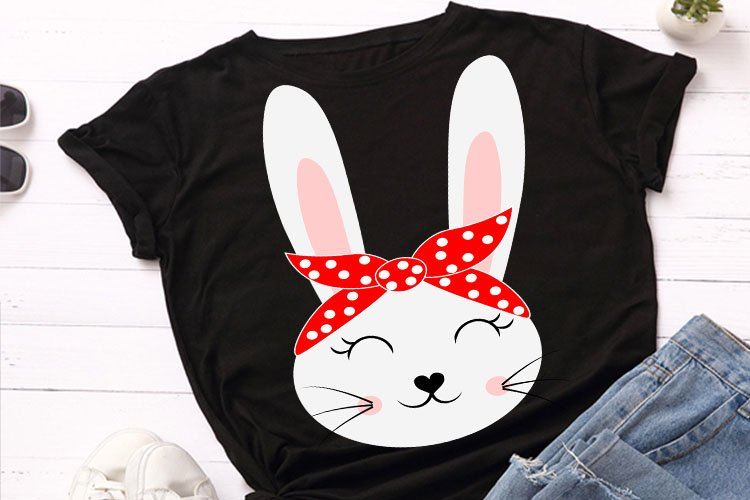 Cute rabbit, bunny animal face with bandana svg file, example image 1