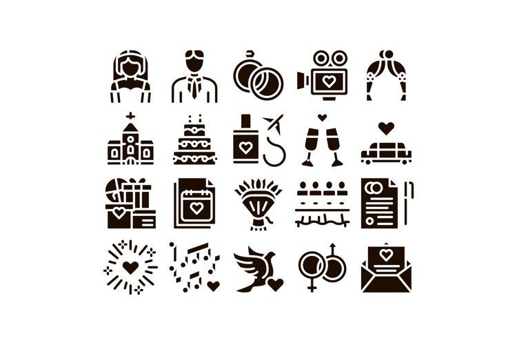 Wedding Glyph Icons Set Vector example image 1