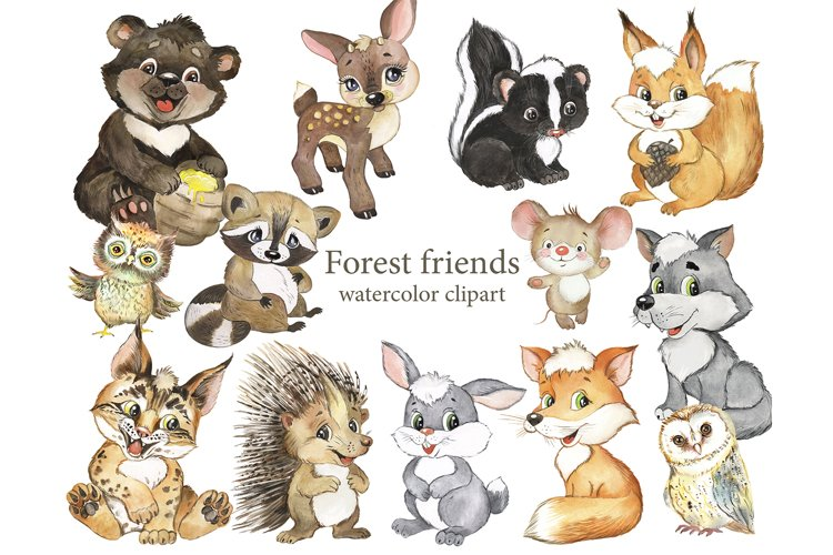 Forest animals Watercolor. Woodland, bear, fox, wol, rabbit
