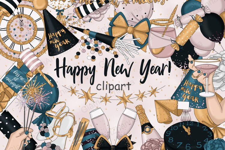 Happy New Year Gold CLIPART Winter Glitter Champagne - PNG