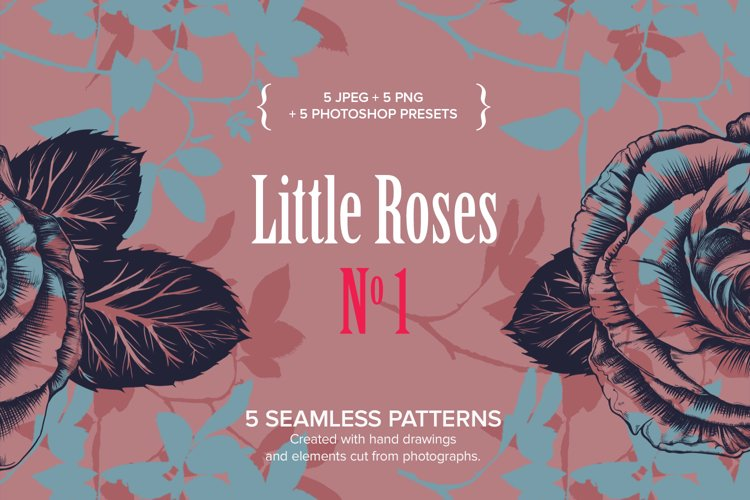 Little Roses No1 - 5 Seamless patterns example image 1