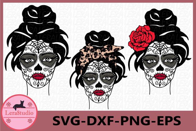 Sugar Skull Svg, Girl skull svg, Skeleton example image 1