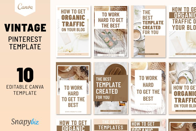 Vintage Pinterest Canva Template example image 1