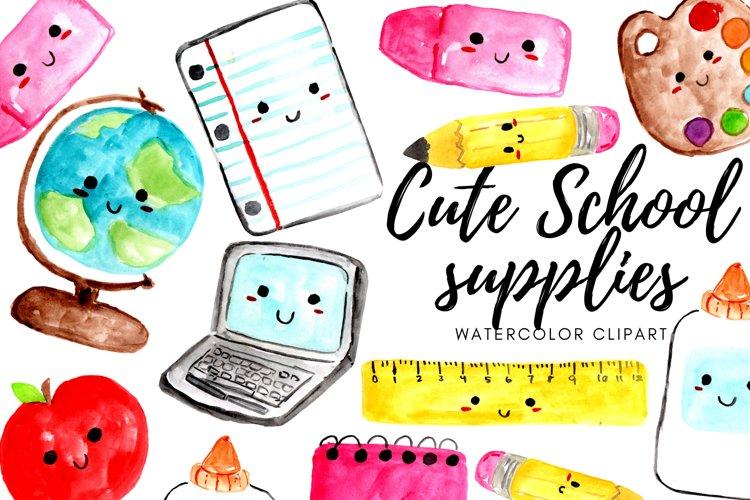 Kawaii cute school supplies clipart