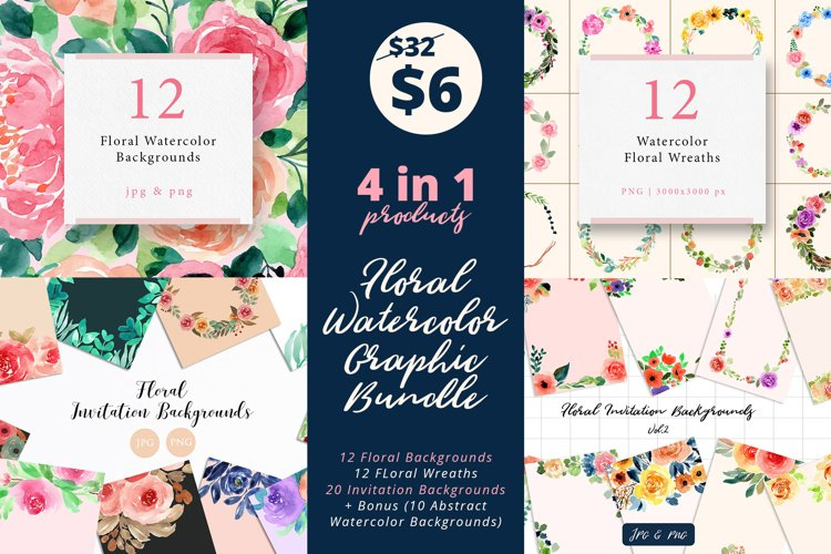 4 in 1 - Floral Watercolor Graphic Bundle example image 1