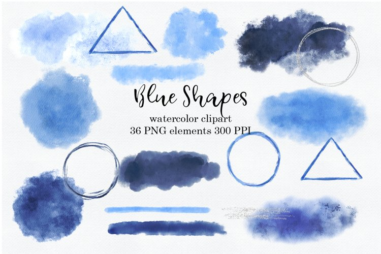 Blue Watercolor shapes, strokes PNG files