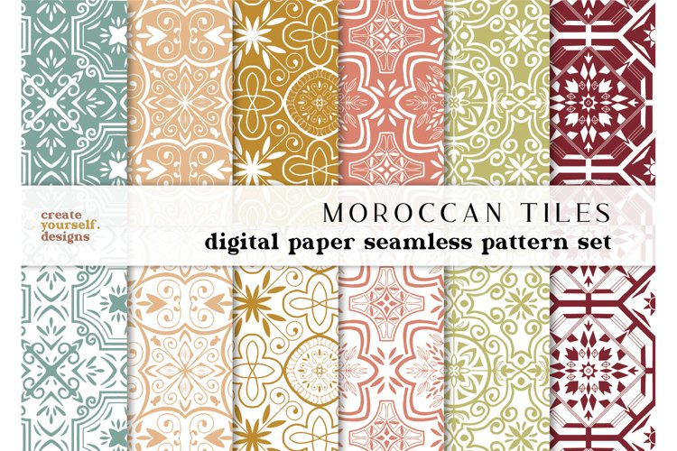 Moroccan digital paper - hand drawn seamless pattern example image 1