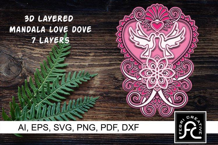 3D Layered Mandala - Love Dove - SVG example image 1