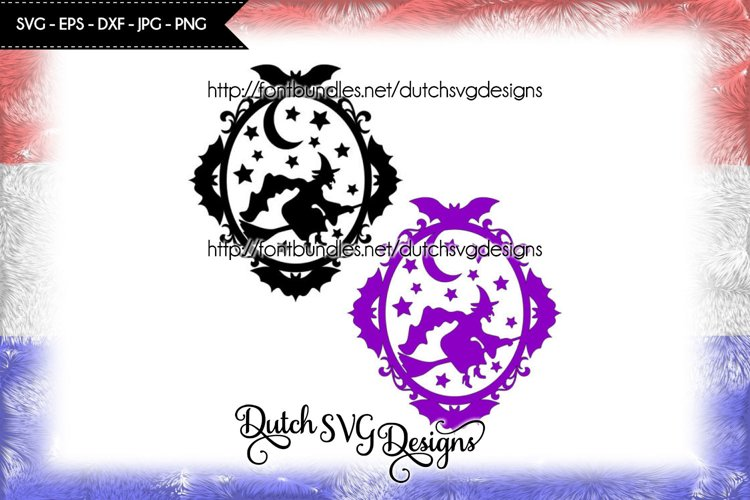 Halloween frame cut file, halloween svg, witch svg, star svg example image 1