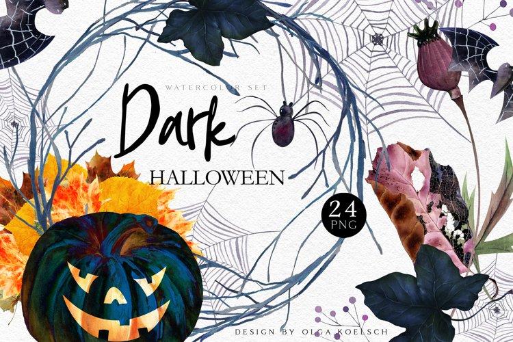 Spooky halloween pumpkin clipart Watercolor autumn clipart