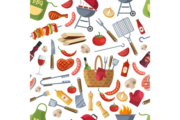 Seamless pattern. Different foods for bbq party example image 1