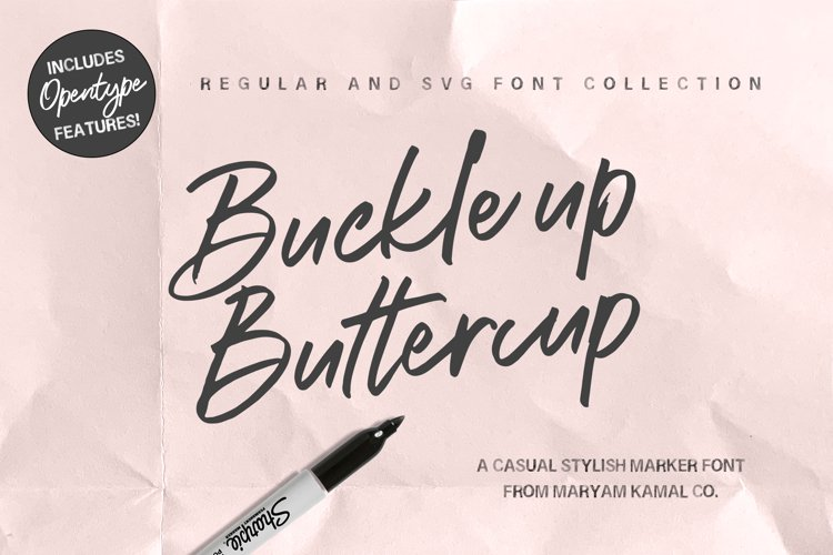 Buckle up Buttercup Marker Font