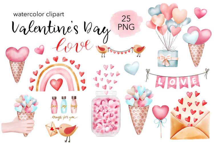 Valentines Day Watercolor Clipart PNG files