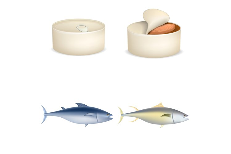 Tuna fish can steak icons set, realistic style example image 1