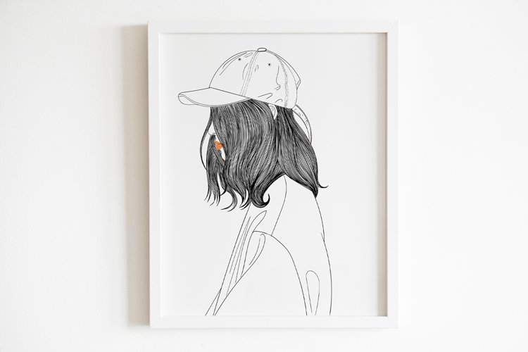 Art Print   Woman wearing a hat that has a modern style example image 1