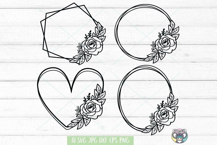 Floral Wreath svg, Frame svg, Flower svg, Files for Cricut example image 1