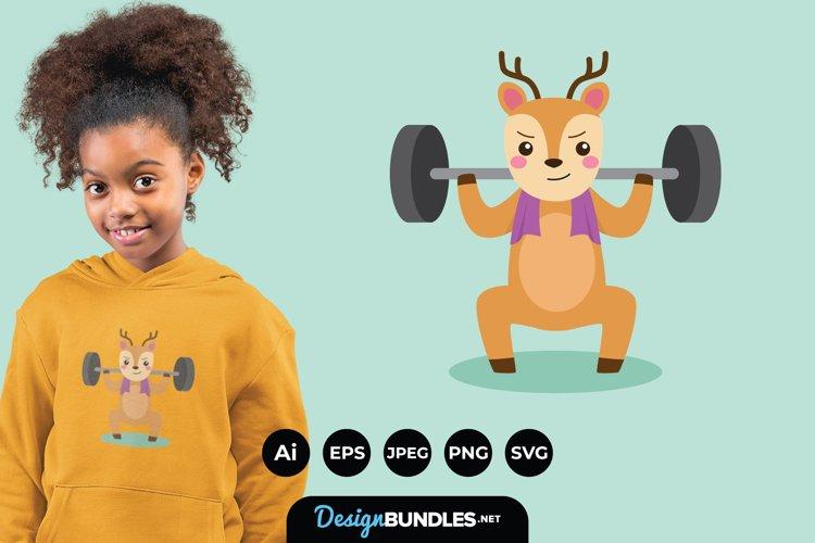 Deer Doing Exercise Illustrations for T-Shirt Design