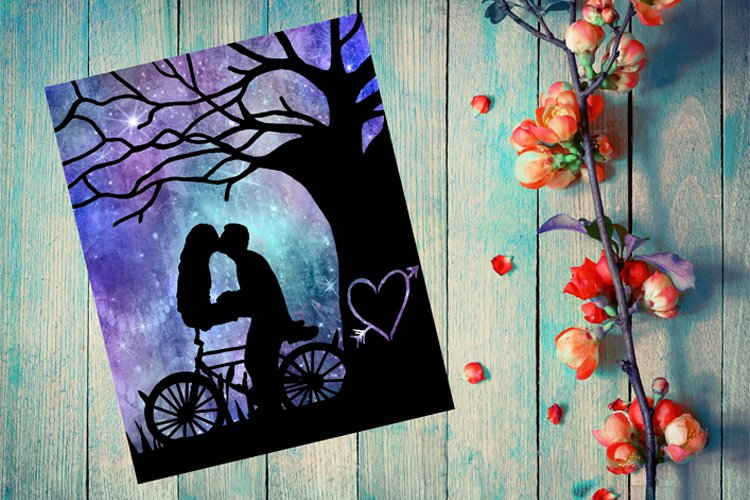 Valentines Day, Bike SVG, Anniversary Paper Cut Template