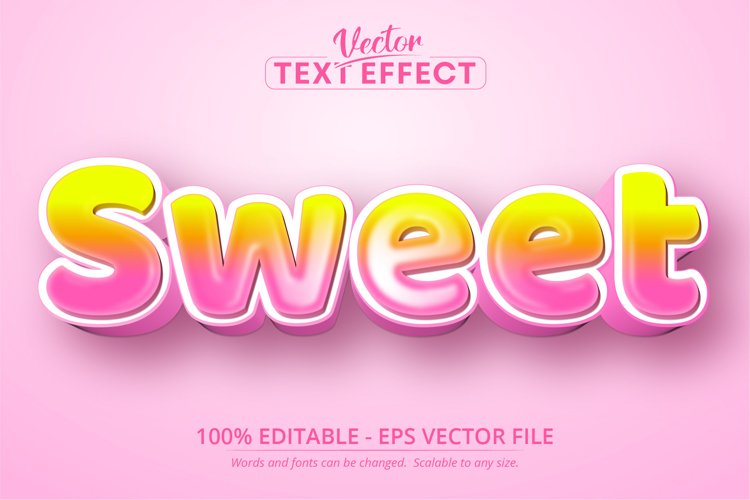 Sweet text, cartoon style editable text effect example image 1