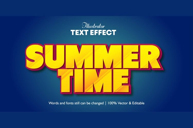 Summer Time Editable Illustrator 3D Text Effect