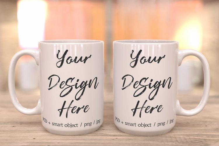 15oz white mug mockup with PSD smart object example image 1