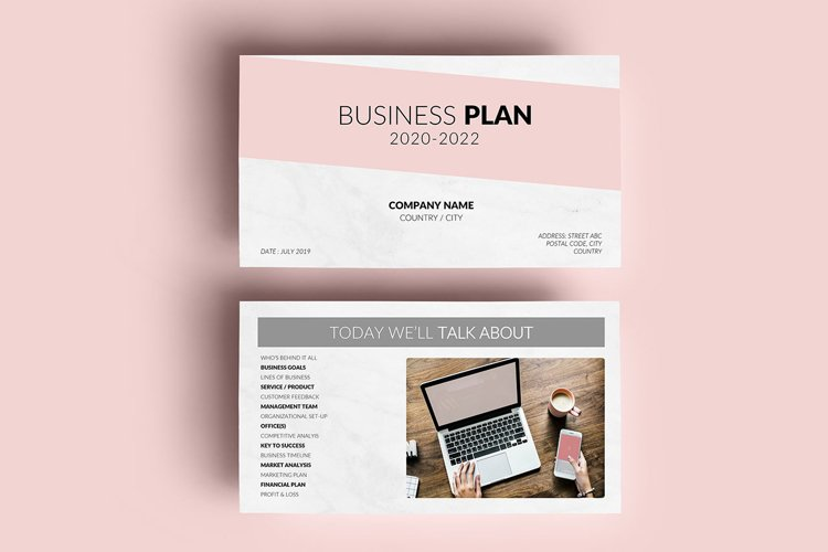 PPT Template   Business Plan - Pink and Marble example image 1