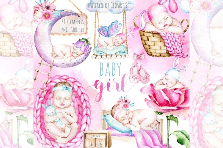 Newborn Baby Girl Clipart,Baby Shower Clipart,Cute baby girl