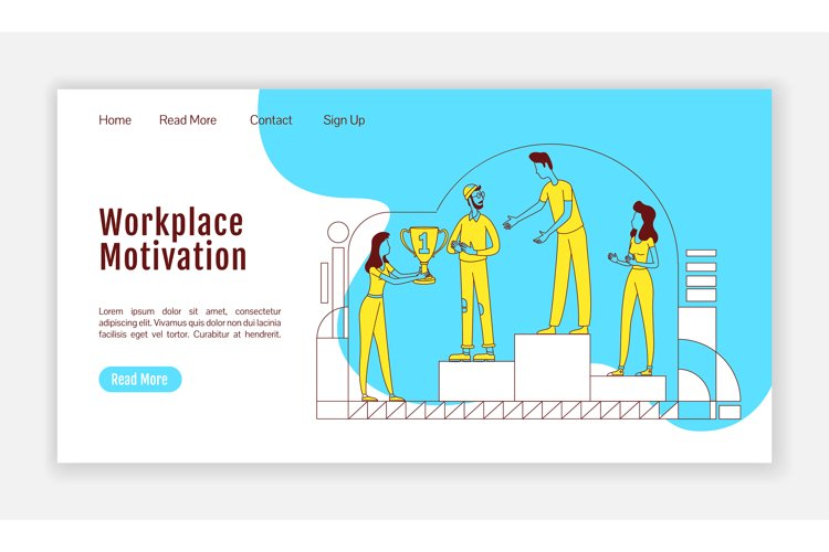 Workplace motivation landing page silhouette vector template example image 1