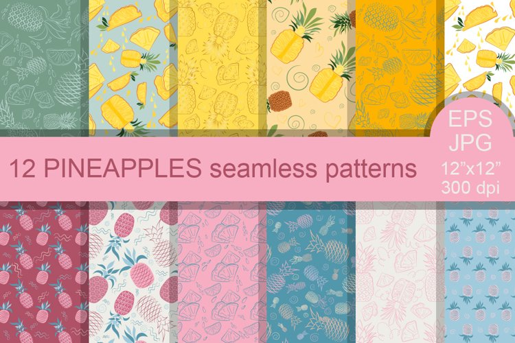 12 PINEAPPLES seamless patterns. Digital paper.