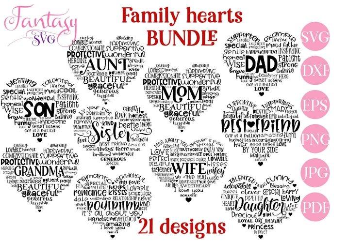 Family Hearts BUNDLE - Svg Cut Files