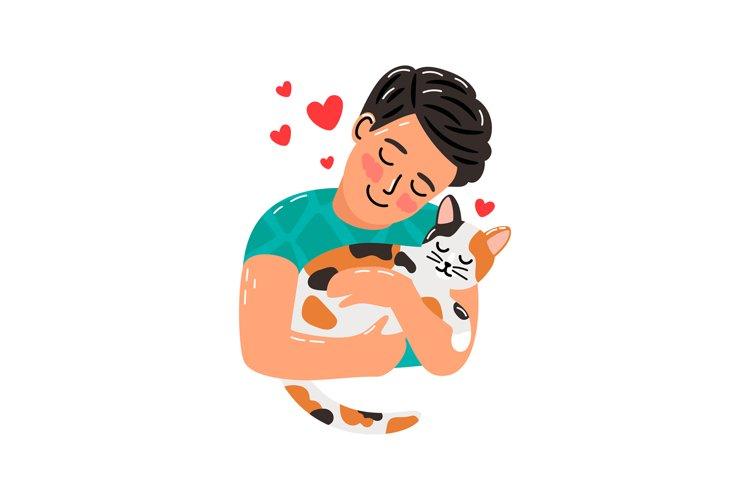 Pet owner man and cat