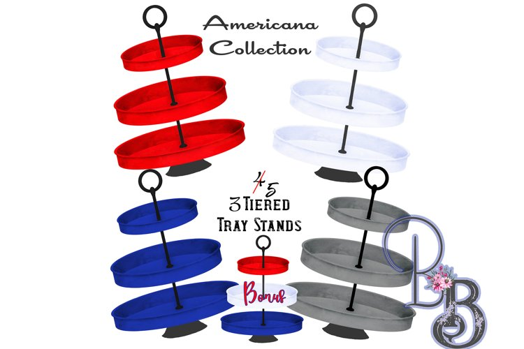 Tiered Tray Stands 4th of July Colors Bundle example image 1
