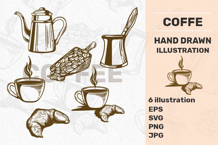 6 Hand Drawn Vintage Coffe illustration example image 1