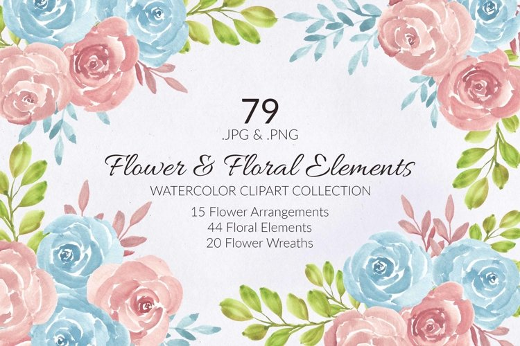 79 Flower and Floral Watercolor Illustration Clip Art