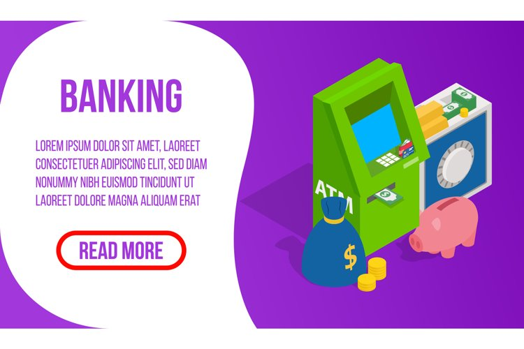 Banking concept banner, isometric style example image 1