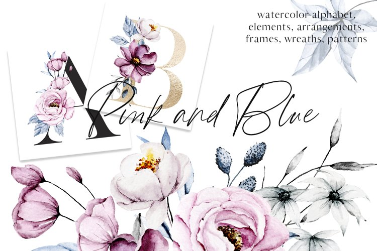 Watercolor pink and blue flowers arrangements, frames, ets. example image 1