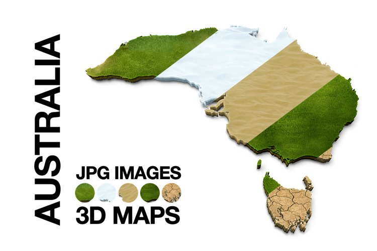 AUSTRALIA 3D Maps Images Dry Earth Snow Grass Terrain Sand example image 1