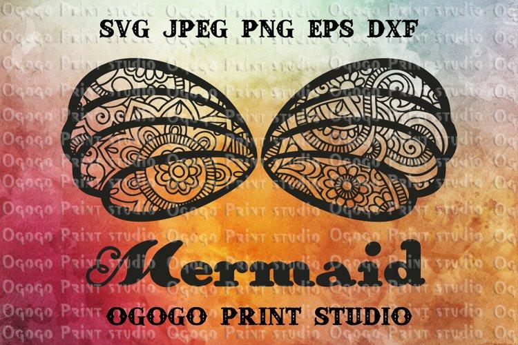 Mermaid Shell SVG, Mandala svg, Zentangle SVG, Mermaid Svg,