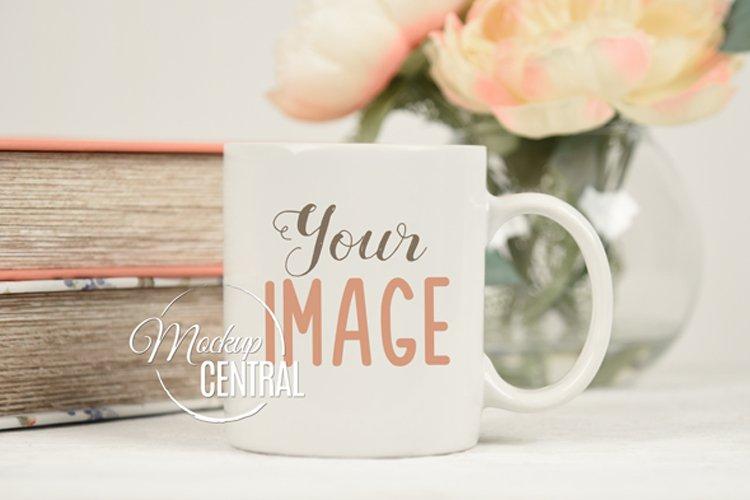 Pretty Coffee Glass Mug Cup Mockup on Desk, JPG