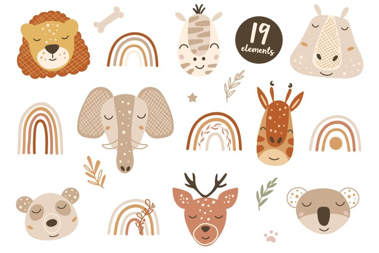 Baby Animal Faces Clipart, Boho Rainbow Elements, Florals
