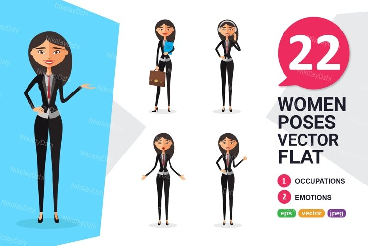 Asian Business woman Character vector collection