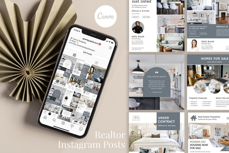 Real Estate Instagram, 12 Posts, Canva