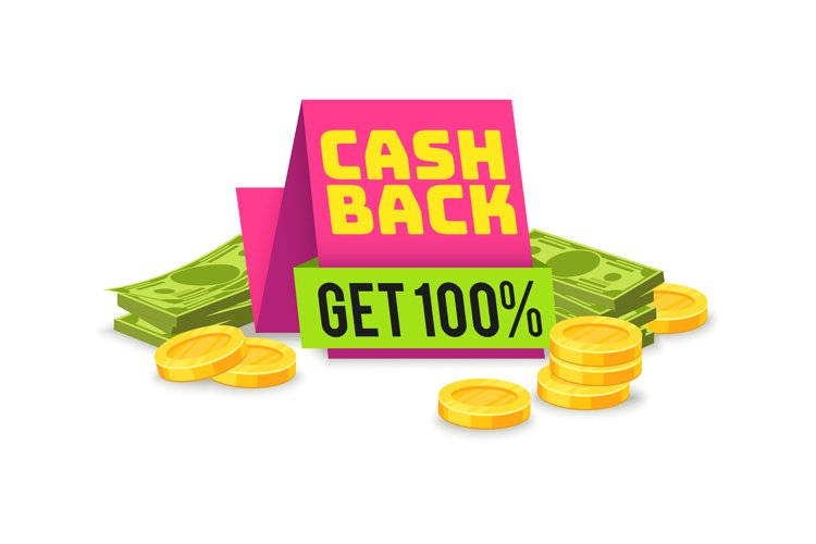 Sale cashback tag. Money saving sign with ribbon, vector sho