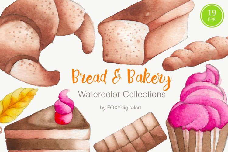 Bread baking bakery cake cupcake watercolor clipart example image 1