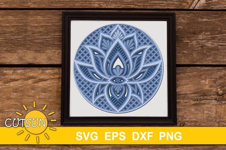 3D Layered SVG Mandala Lotus SVG 4 layers example image 1