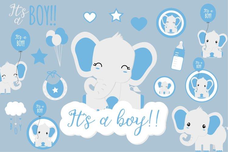 Baby boy Elephant clipart   Blue elephant illustration