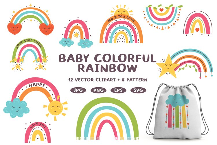 Bundle Modern Vector Rainbow Cloud Clipart Digital Paper