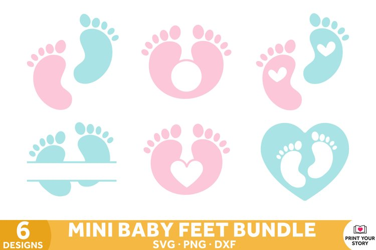 Baby Feet SVG files, Baby SVG Cut Files Mini Bundle