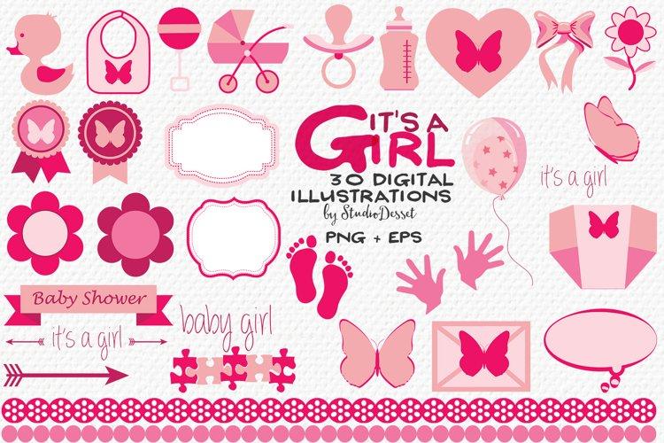 Baby Girl Vector Illustrations   Newborn Cliparts
