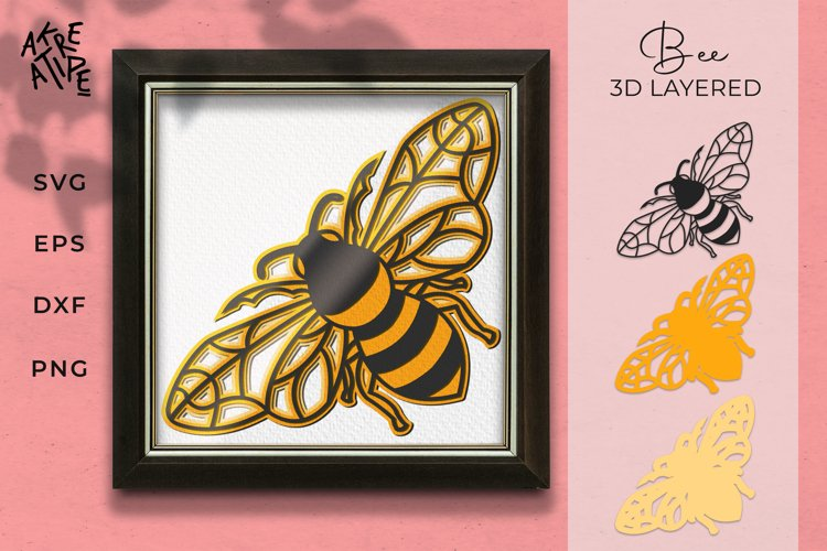 3D Layered Bee SVG | Bee Cut File SVG